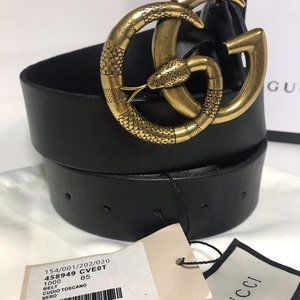 Gucci Leather Black Snake Logo GG